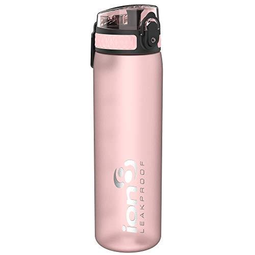 Ion8 auslaufsichere schlanke Wasserflasche / Trinkflasche, BPA-frei, 500ml / 18oz, Rosa (Frosted Rose Quartz)