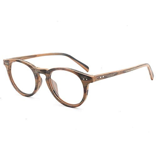 WULE-Sunglasses Unisex New Handmade Platte Holzmaserung Retro-Rahmen Myopie Brille großes Gesicht Brillengestell Männer und Frauen flachen Spiegel (Color : Brown Frame Brown Legs)