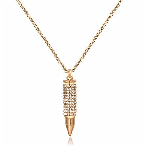 Fjyouria Charm pour femme Plaqué or rose 18ct Bullet Pendentif Collier Doré avec cristaux brillants