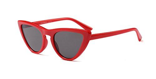 Hykis - Frauen-Sonnenbrille Rahmen Cat Eye Red Sonnenbrille Luxus-Marke Modernes Wei? Cateye Sonnenbrillen Damen Sexy Brillen Lunette [rot grau]