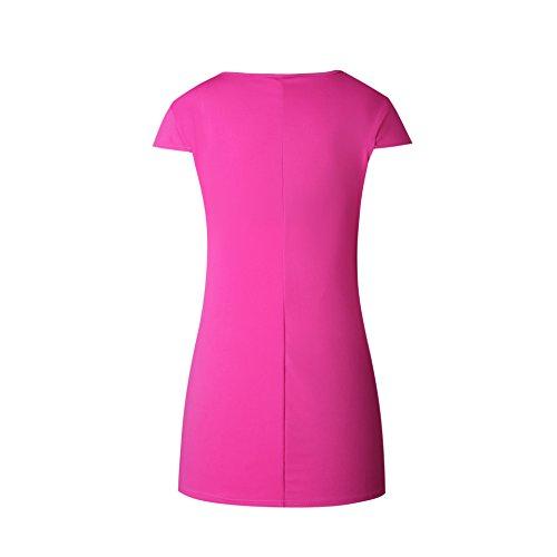 ACVIP Vestito sopra Ginocchio Puro con Collo Rotondo a Maniche Corte,4 Colori Rosa