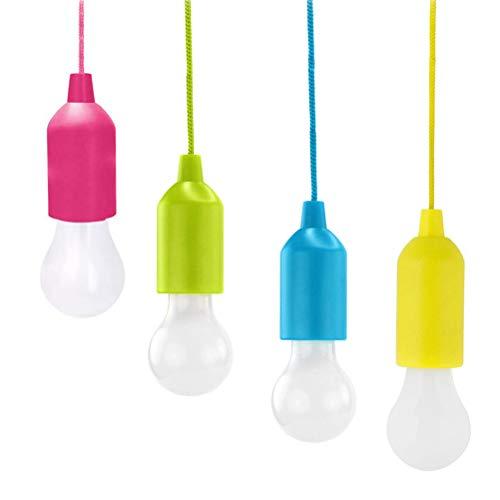 Comtervi Pull Light Lampe Camping Tragbare LED Leuchte Glühbirnen Campinglampe Dekoratives Licht Pendelleuchte für Party Garten Dachboden Kleiderschrank usw, Weißes Licht Size 4pcs