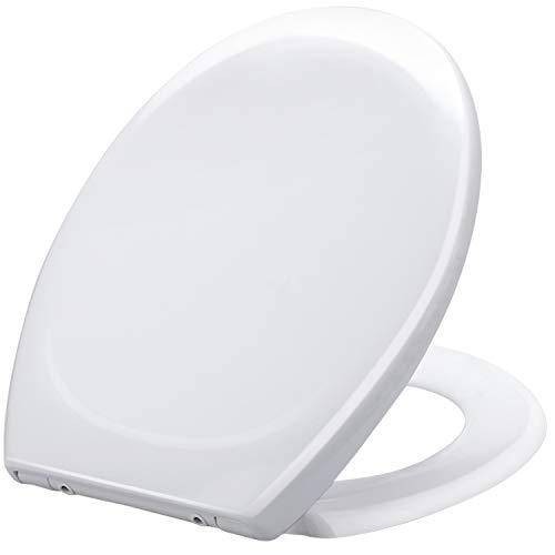 Toilettendeckel, O-Form WC Sitz mit Absenkautomatik, Quick-Release Funktion für leichte Reinigung, Klodeckel aus Duroplast, mit Edelstahl-Befestigung