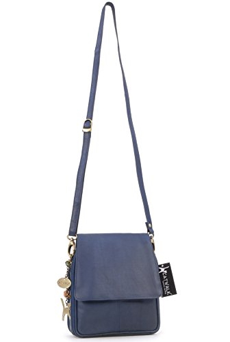 Catwalk Collection Handbags, Borse in Pelle tascapane organiser , Metro blu