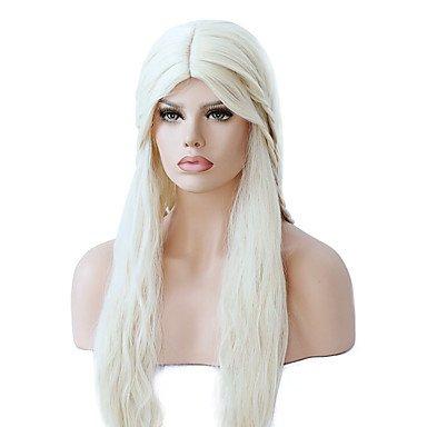 Frauen Kunsthaar Perücke Capless Lange Wellig gelb geflochten Perücke mittleren Teil Sew in 100% Kanekalon Haar mit Baby Haar Cosplay Perücke Kostüm Perücken
