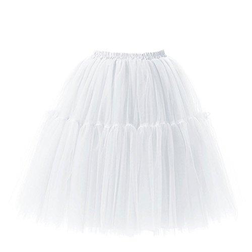 Damen Vintage 50er Jahre Faltenrock Tutu Tanzrock Organza Petticoat Ballettrock Pettiskirt Unterrock Rockabilly Kleid mit 6 Layers Perfekt für Fasching (Halloween Pettiskirts)