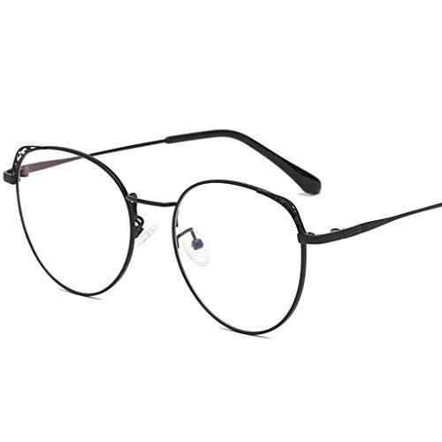 HHL Anti-Blue-Light-Brille Round Runder Retro-Metallrahmen Ohne Verschreibungspflicht Ey Schützen Sie Die Augen , Unisex (Farbe : Schwarz)