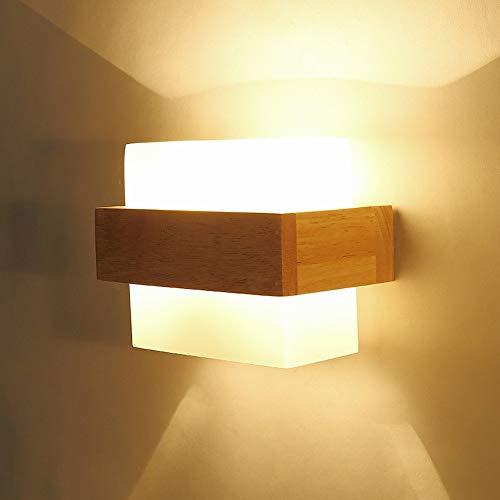 Moddeny Creativo Cuadrado Japonés Dormitorio Lámpara de cabecera Moderno Simple de madera maciza Pared...