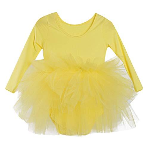 Weibliche Kinder tanzen Kleidung üben Tanz Tutu Kleid Ballett einfarbig Tanz Rock Schwan Anzug (2-6 Jahre alt)(Gelb, XS) Voller Rock Nylon Rock