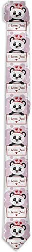 Men's Tie Panda With A Red Rim Of Hearts Holding A Plate Fashion Silk Skinny Ties Unique Gift Neckties Mid Rim Plate