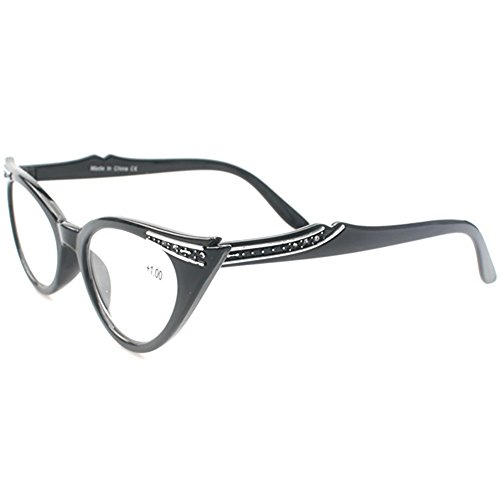 Brille Cat Kostüm Black - Huicai Vintage Inspired Mod Damen Mode Strass Cat Eye Lesebrille +1.0 to +3.5