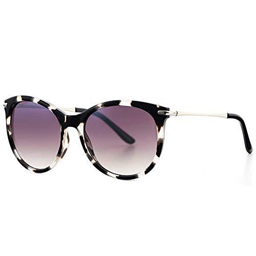 Avoalre Vintage Sonnenbrille Damen Retro Brille im angesagten 60er Style Verlaufsglas Metallbügeln 100% UV400 Schutz (Leopard)