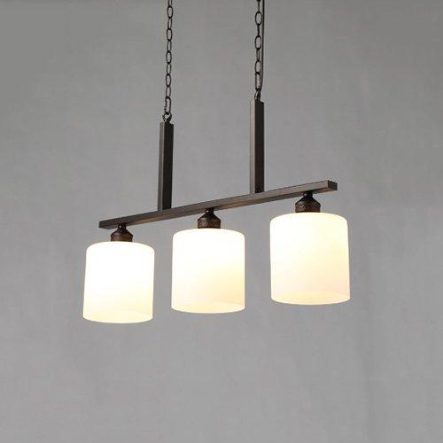 27 3 Köpfe Metall Pendelleuchte Kronleuchter Schwarz Schmiedeeisen Hängeleuchten Glas Lampenschirm Pendelleuchte für Restaurant Apartment Clubhouse Wohnzimmer ()