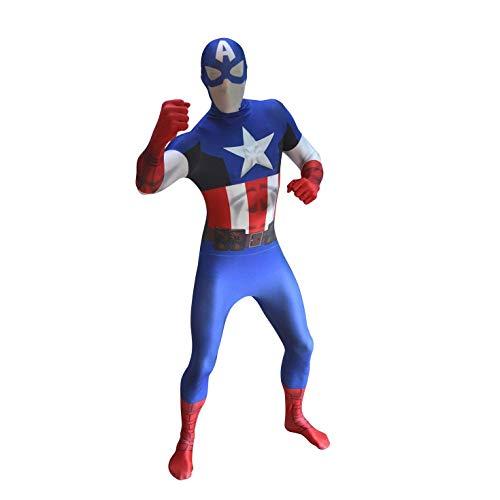 en-Deluxe-Kapitän America Grund Morphsuit fantasievolle Kleidung Kostüm Halloween-Outfit UK Capt (Extra große) ()