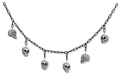 XL Halloween Totenkopf Ketten Girlande - 170 cm - Gruselige Skelett Dekoration