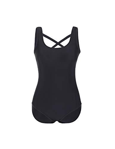DELIMIRA Damen Badeanzug mit Cups Einteiler Badekleid Tiefer Rücken Schwarz 42