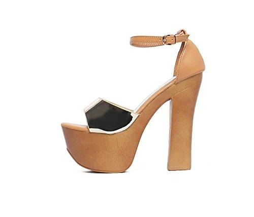 GTVERNH-l'estate delle scarpe d'oro spesso con impermeabile taiwan ultra bassa col tacco alto hentian sandali scarpe una bocca di pesce fibbia sandali.,trentaquattro Thirty-seven