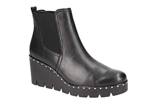 Gabor Damen Keilstiefeletten 93.785,Frauen Stiefel,Boots,Halbstiefel,Wedge-Bootie,Nieten,Blockabsatz 5cm,F Weite (Normal),Schwarz (Nieten),UK 3.5