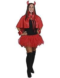Red Devil Cape Tutu Horns Cuffs Bow Tie & Tail Set Halloween Fancy Dress