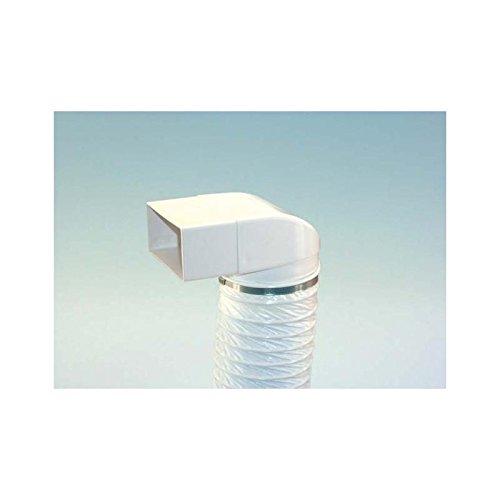 Umlenkstück mit flexiblem Schlauch und zwei Schlauchschellen in Weiß L 500 mm für 100er Abluftsystem mit Rechteckanschluss und Rundanschluss für Flachkanal / Vierkantrohr Abluft