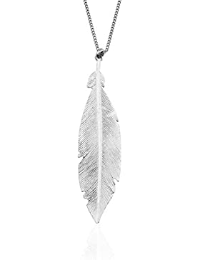 LUXIORO Damen Halskette mit Anhänger Feder in 925 Sterling Silber