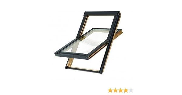 114x112 cm VKR Konzern Rooflite Velux Dachfenster Balio Schwingfenster mit Eindeckrahmen und Rollo Verdunkelungsrollo