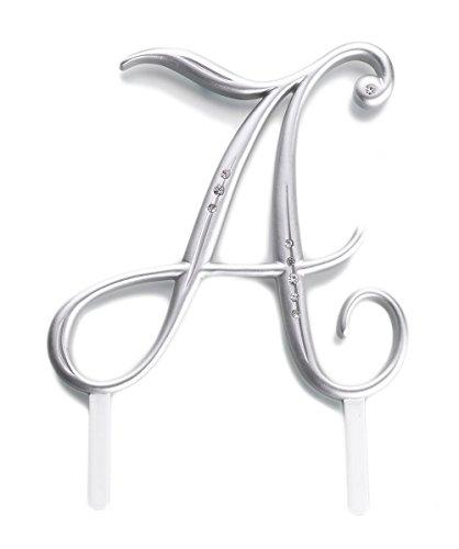 Silber überzogen Hochzeit Strass Monogramm A-Z Briefe Initialen-Kuchen-Deckel - (A)
