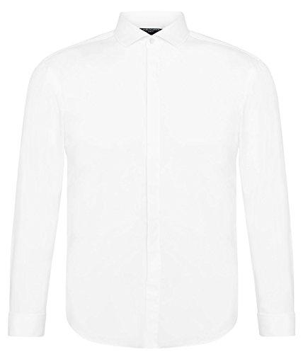 7b515e15b3c0 PABLO CASSINI Herren Langarm Hemd Slim Fit mit verdeckte Knopfleiste  Haifischkragen Manschettenhemd Bügelleicht Weiß (XXL