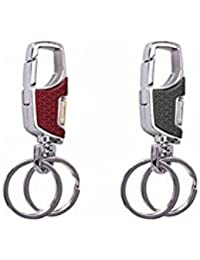 Key Era Combo Of 2 Omuda Key Holder A3718 With Hook & Double Ring Keychain & Keyring For Bikes, Cars, Bags, Home...