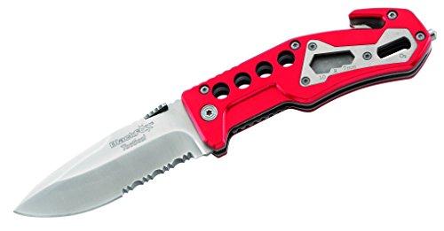 BlackFox-Einhand-Rettungsmesser-Stahl-440-Teilsgezahnung-Schlagdorn-Gurtschneider-rote-Aluminium-Griffschalen-258712