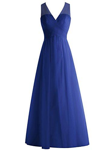 Bbonlinedress Robe de cérémonie et de demoiselle d'honneur légère plissée col V sans manches et strass longueur ras du sol en tulle Bleu Saphir