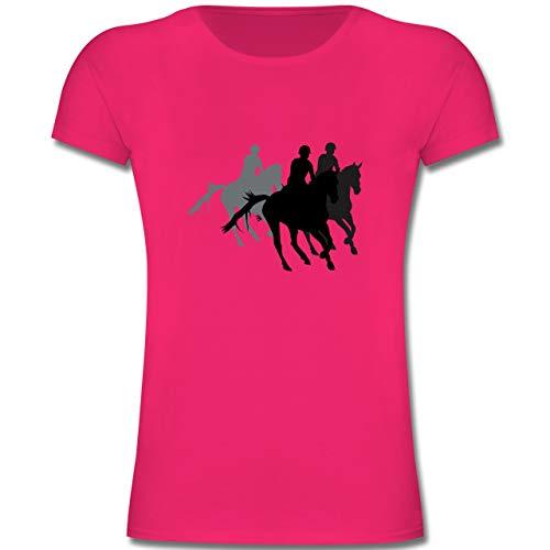 Sport Kind - Freizeitreiten Ausreiten Reiten - 128 (7-8 Jahre) - Fuchsia - F131K - Mädchen Kinder T-Shirt
