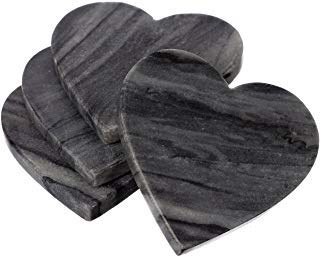 Shalinindia handgefertigt Ocean grau Marmor Untersetzer Set Love Herz Untersetzer Untersetzer Set 4-drink 4x 4x 0,75inch-cocktail Esstisch coffee- Kunsthandwerk in Indien - Marmor-top Für Esstisch-set 4