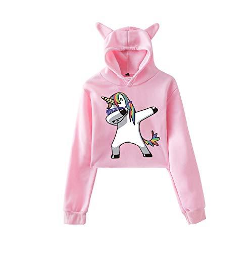 Elegante Sudadera Corto Unicornio Mujer/Niña Otoño Exponiendo la Cintura Sudadera con Capucha de Moda Lindo Orejas de Gato de Manga Larga Hooded Sweatshirt Casual (Rosa XS)