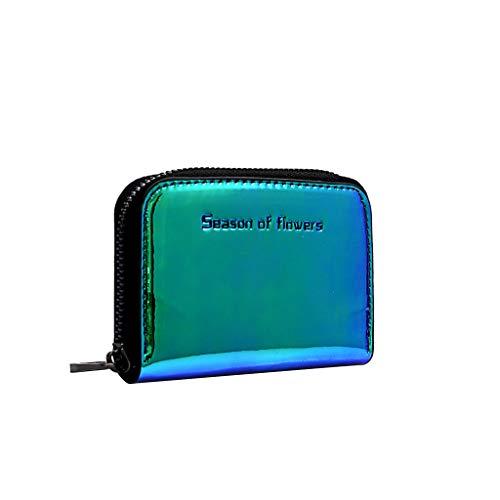 Finebo Brieftasche Frau Buntes Kartenpaket Einfaches und niedliches kleines Dokumentenpaket Portemonnaie mit großem Fassungsvermögen Beiläufige Mehrfarbenmappe (Grün) -