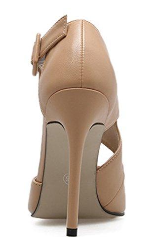 Donna Flangia Alto Con Colore Alla Caviglia Di Fibbia Sexy Unito Scarpe Tacco Aisun Albicocca pxadSp