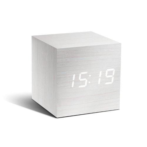 Gingko GK08W13 Würfel-Digitaluhr \'Click Clock\' Weiß mit weißer LED-Anzeige
