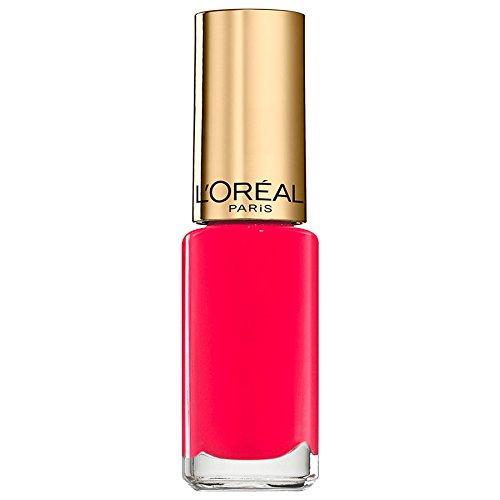 L'Oréal Paris Color Riche Le Vernis Summer Nagellack Pink / Glänzender Farblack in knalligem Pink mit integriertem Überlack / 826 Flamingo Pink / 1 x 5ml -