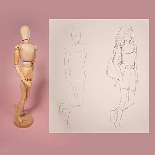 MONT MARTE Maniqui Dibujo - Mannekin Masculino de 30cm - Muñeco articulado, Marioneta de Madera, Maniquí flexible, ideal como Modelo para Dibujar - Perfecto Para Principiantes, Profesionales, Artistas