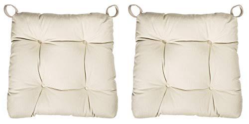 sleepling 190196 Basic 20 bequemes Stuhlkissen/Sitzkissen für Indoor und Outdoor 2er Set beige
