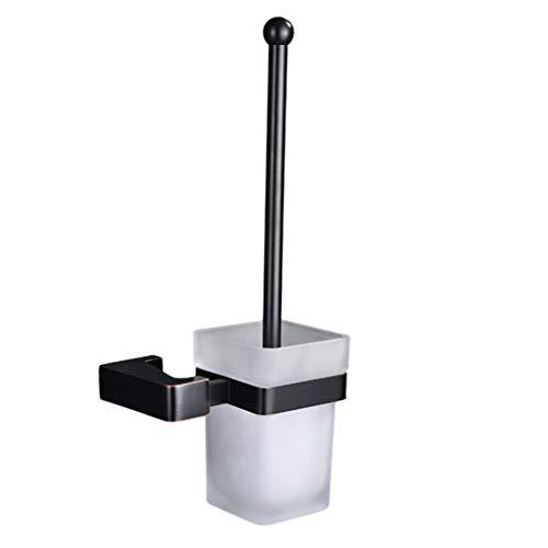 LNTS Badezimmer-Toilettenbürstengarnitur,Toilettenbürstengarnitur, Ganzkupfer Schwarz, Quadratisch, Europäische Toilettenbürste