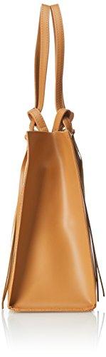 CTM Handtasche der Frau mit herausnehmbaren Innensack , echtem Leder in Italien - 38x30x15 Cm Orange (Cuoio)
