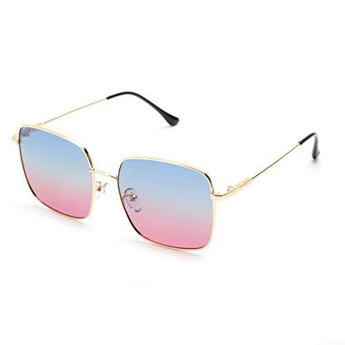 rezi Sonnenbrille, Pilotenbrille Herren Damen, PC-Objektive und Unzerbrechliche Edelstahlrahmen mit Verstellbaren Nasenpads zum Fahren, Angeln, Shopping, Reisen, Mode-Accessoires (Retro Quadrat/Gold)