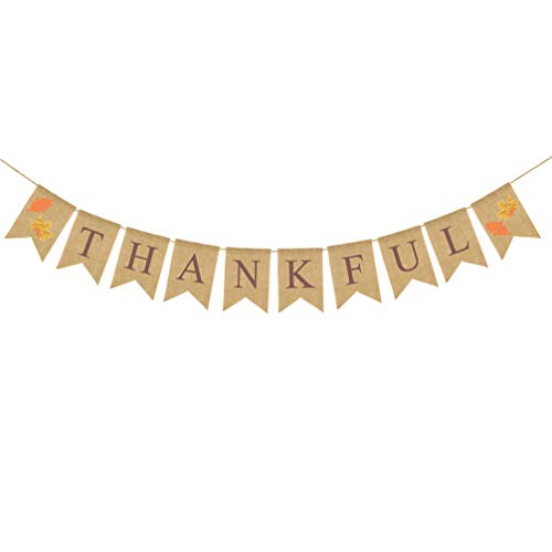 Amosfun Danksagungsleinwandfahne dankbare Ahornblätter die hängende Girlandenflaggenflagge der Herbsternte für Erntedankfestdekorationen drucken