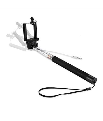 Captcha Pocket Size Selfie Stick Wired for iPhone and Android Aux Cable Monopod Premium Series for Iphone, Android, window phone, No bluetooth, No charging required (assorted Colors) Free Mobile Pouch Worth Rs.199  available at amazon for Rs.139