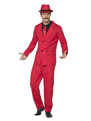 Smiffys Herren Anzug, Jacke mit wattierten Schultern, Eng zulaufende Hose, Hut, Shirt und Krawatte, Größe: XL, ()