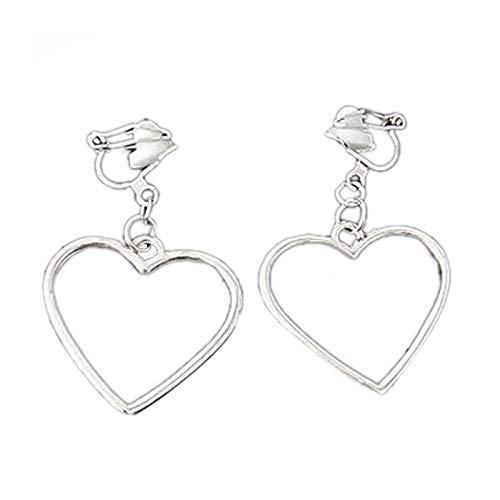 Semoic Japanische Harajuku Hohle Ohrringe Geometrische Form Herzfoermige Ohrringe Silber Liebe Ohrringe Ohne Ohrloecher Weiblichen Ohr Clip