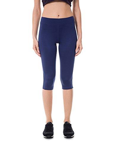 SYROKAN Femme Legging de Sport Court Yoga Jogging Pantalon Colant Pro Cool Capri Navy