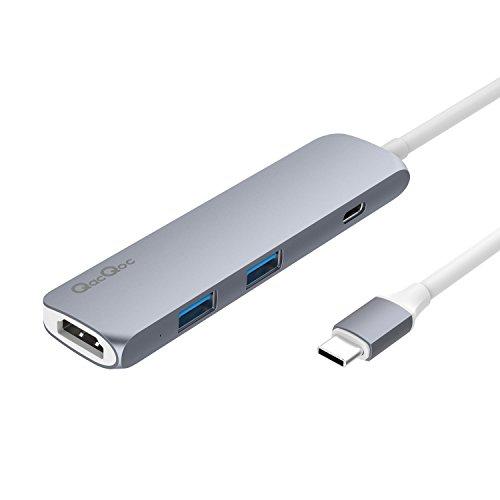 QacQoc GN22B Premium HUB USB C Multi-puertos con puerto de carga PD, 2 USB 3.0 puertos , 1 HDMI puerto y 1 USB-C Puerto de carga de entrada para nuevo Macbook de 12 pulgadas de aleación de aluminio (gris)