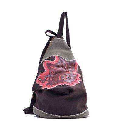 National Wind Retro Tasche canvas Rucksack Studentin Sport Schultasche, Kaffee Brown